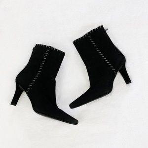 Stuart Weitzman Black Suede Ankle Boots Stitch